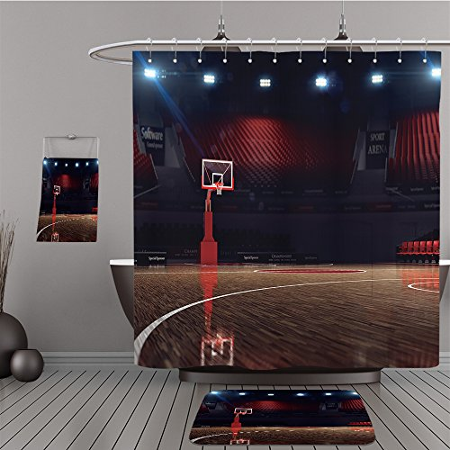 Uhoo Bathroom Suits & Shower Curtains Floor Mats And Bath Towels 278009966 Basketball court. Sport arena. 3d render background. unfocus in long shot distance For - Bath Betty Towel Boop Set