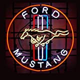 Urby® Ford Mustang Real Glass Neon Light Sign Home Beer Bar Pub Windows Garage Wall Sign 18''x14'' Z4