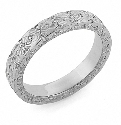 Platinum Hand-Carved Flower Wedding Band Ring - Size 9