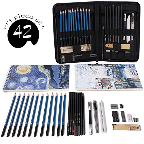 Professional Art Set 42 PCS Drawing and Sketching Set- Drawing, Sketching and Charcoal Pencils. 2 x 50 Page Drawing Pad!Kneaded Eraser Included. Art Kit for Kids, Teens and Adults