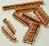 10 Pack Multi 4 Strand Slide Lock Clasps, Copper Plated Brass