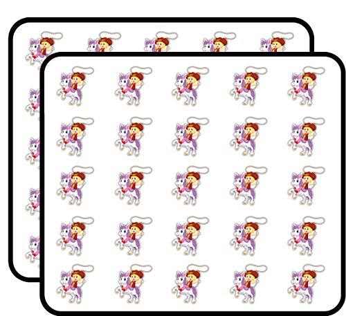 Little Cowgirl Rider Cartoon Sticker for Scrapbooking, Calendars, Arts, Kids DIY Crafts, Album, Bullet Journals 50 Pack ()