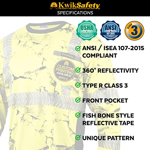 KwikSafety (Charlotte, NC) UNCLE WILLY'S WALL (Chest Pocket) Class 3 ANSI High Visibility Safety Shirt Fishbone Reflective Tape Construction Hi Vis Clothing Men Long Sleeve Camo Yellow Black 2XL by KwikSafety (Image #5)