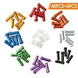HZJD 48PCS Cable End Crimps, Bike Brake Cable caps, Cable Caps for Bike Shift Alloy,Bicycle Brake Cables End Caps, 6PCS O-Ring Brake Cable Rubber