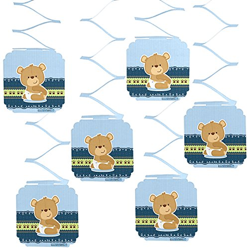 (Big Dot of Happiness Boy Teddy Bear - Baby Shower or Birthday Party Hanging Decorations - 6)