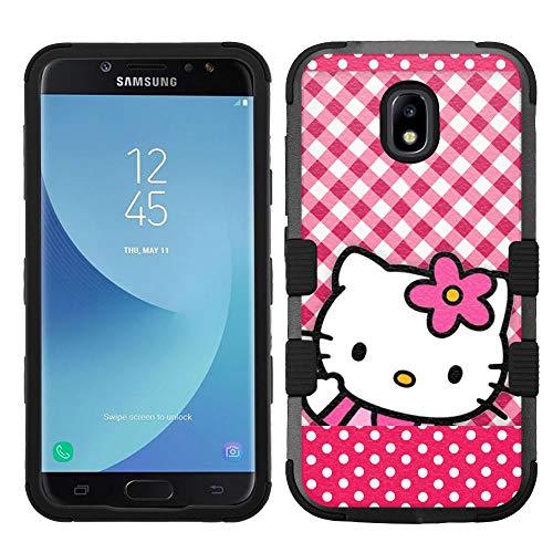 (for Galaxy J7 Crown, J7 Refine, J7 Star, J7V 2nd Gen. SM-J737, Hard+Rubber Hybrid Rugged Impact Cover Case - Hello Kitty #RDT )