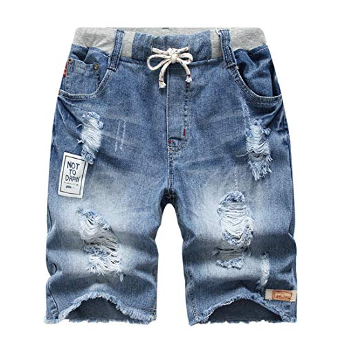 YoungSoul Big Boys Ripped Pull-On Jeans Shorts Stonewash Denim 11-12T (Boys Jean Shorts Size 16)
