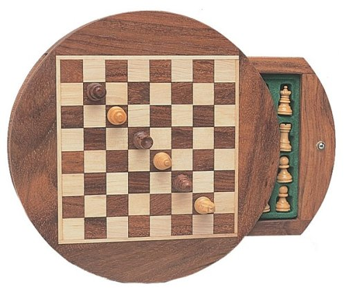 WE Games Wood Magnetic Round Chess Set -7 inches by Wood Expressions