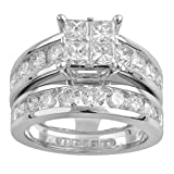 14k White Gold Princess Quad Diamond Bridal Wedding Ring Set (3cttw, H-I Color, I1 Clarity), Size 7