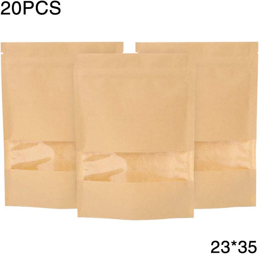 durchsichtige Fenster f/ür Lebensmittelaufbewahrung Tee wiederverschlie/ßbar,23*35 f/ür Zuhause N/üsse LNIMIKIY Papier-Druckverschlussbeutel 20 St/ück Geschenk geruchssicher Kaffee Snack