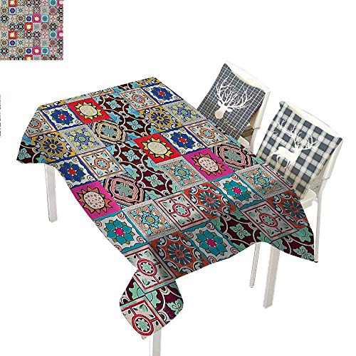 Moroccan Decor Dining Table Cover Collection of Ceramic Mosaic Tiles and Figures with Mathematical Geometrical Artful DesignMulti Rectangular Tablecloth W52 xL70 inch