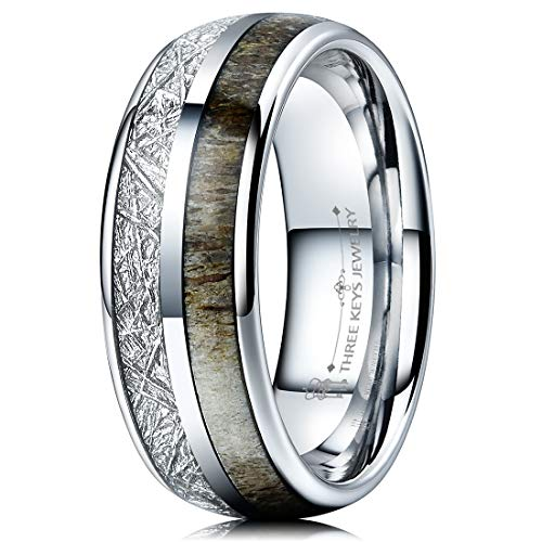 THREE KEYS JEWELRY 8mm Silver Tungsten Wedding Ring with Real Antler Imitated Meteorite Inlay Dome Hunting Ring Wedding Band Engagement Ring Size 7 -