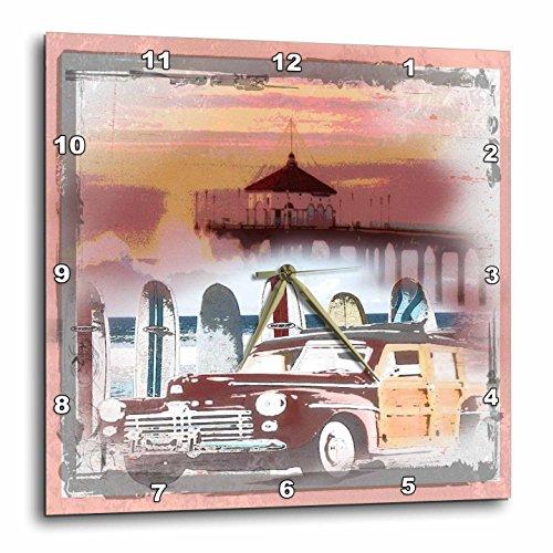 3dRose 3D Rose Manhattan Beach California Woody and Surfboard Art - Wall Clock, 13-inch (DPP_60101_2) (Shelf Surfboard Wall)
