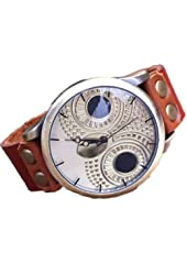 Vintage Hand Made Owl Dial Leather Rope Bracelet Watch with Rivet