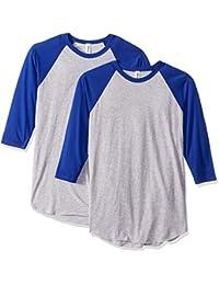 Men's 50/50 Raglan Three Quarter-Sleeve T-Shirt (2 Pack) Crewneck (2 Packs)