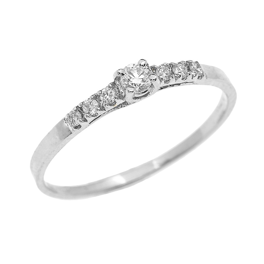 Dainty 10k White Gold Diamond Solitaire Engagement Proposal Promise Ring (Size 5)