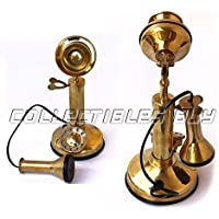 Decorative Small Candle Stick Telephone Brass Finish rotary dial vintage model ornament collection