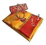 Magneitta Women's Cotton Silk Saree Free Size Yellow