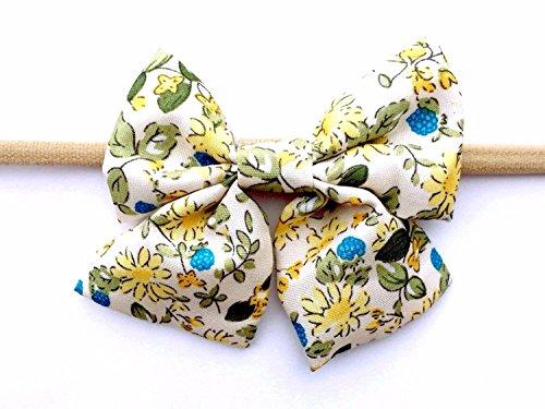 Print Skinny Headband (Baby Wisp Infant Headbands Soft Fabric Oversized Patterned Sailor Bows Skinny Nylon Elastic (Retro Bouquet))