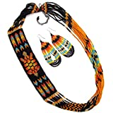 Native American Style Handmade Necklace Earrings Set Layered Seed Beaded (Black Turtle)