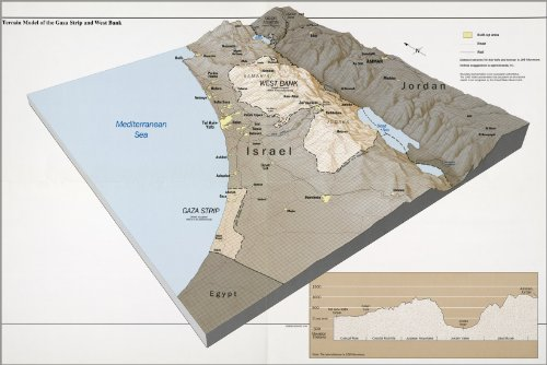 42x63 Poster; Cia Terrain Map Gaza Strip West Bank Israel 1994 (Map Gaza Strip Israel)