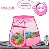 Prince Princess Ball Pit Tent Indoor and Outdoor 1 to 8 Years Old Children Game Play Toys Tent Balls, Easy Folding Ball Pit Play House Baby Beach Tent with Tote Bag , Ocean Ball Not Included. (Pink)