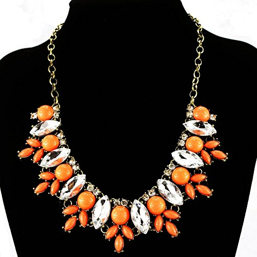 Fit&Wit FitWit Rhinestone Crystal Statement Necklace Women Bohemian Fashion Necklace - ORANGE by Fit&Wit (Image #2)