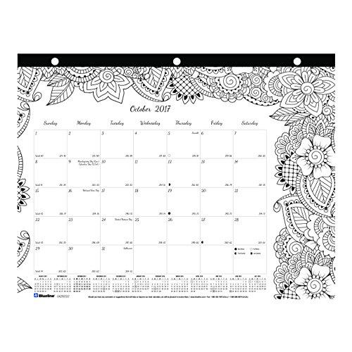 Blueline 2017 2018 Doodleplan Academic Coloring Desk Pad