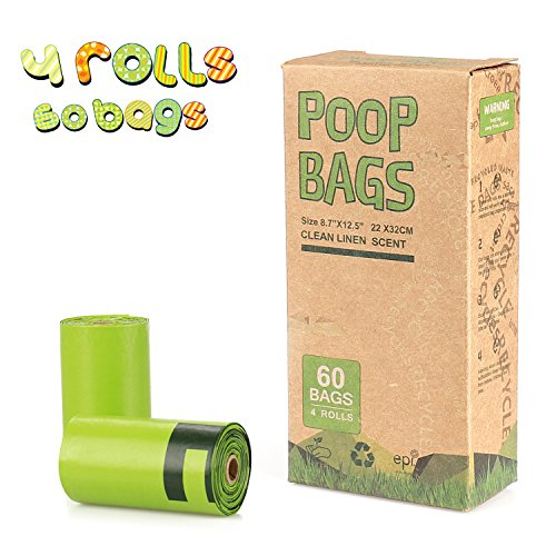 Pet Poop Bags, 60 Counts/4 Rolls Earth Friendly Dog Waste Pick Up Bags, Scented, Refill ()