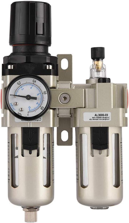 regulador de compresor de Aire AC3010-03 Filtro regulador de Aire regulador de presi/ón de Aire comprimido de aleaci/ón de Aluminio Cocoarm Regulador de Filtro de Aire de 3//8