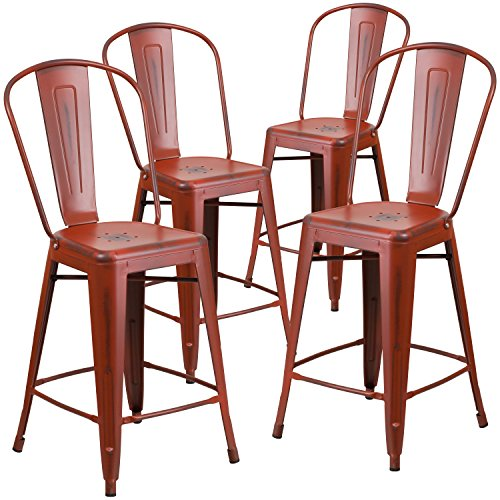 Flash Furniture 4 Pk. 24'' High Distressed Kelly Red Metal Indoor-Outdoor Counter Height Stool with Back