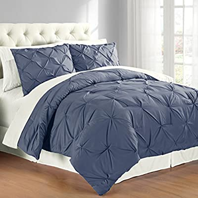 Pintuck Comforter Set Indigo Double