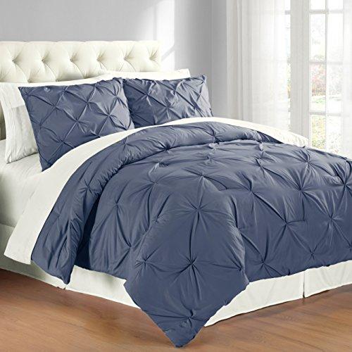 Swift Home Premium Collection 3-Piece Pintuck Comforter Set, King, Indigo - Premium Bedding Set