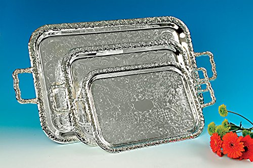 """QUEEN ANNE TRAY 17"""" OBLONG SILVER PLATED"""