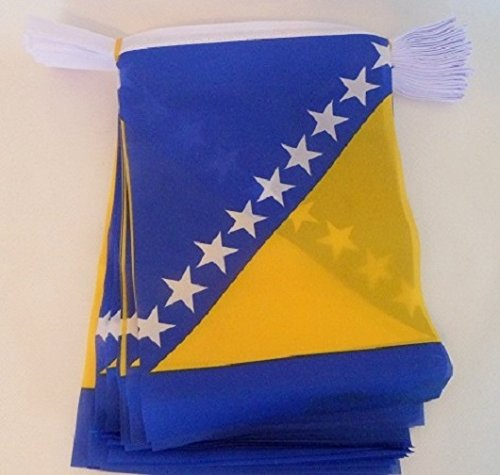 AZ FLAG Bosnia Herzegovina 6 Meters Bunting Flag 20 Flags 9'' x 6'' - Bosnian Herzegovinian String Flags 15 x 21 cm ()