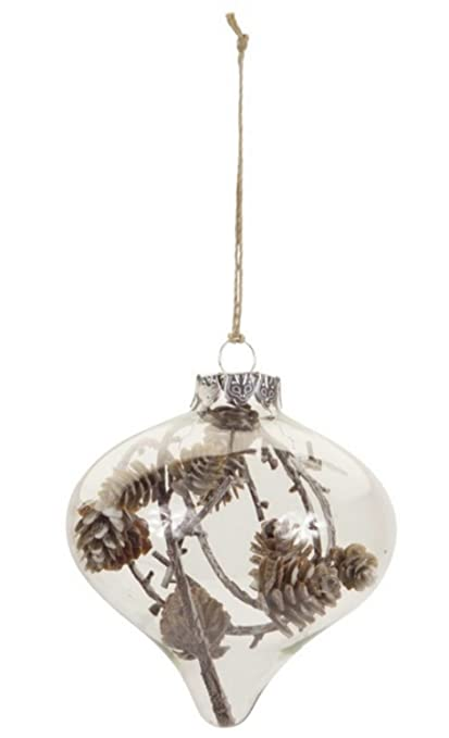 melrose 4 country cabin style clear christmas onion ornament with pine cones - Cabin Style Christmas Decorations