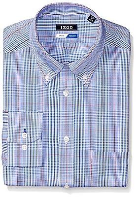 IZOD Men's Dress Shirts Regular Fit Plaid