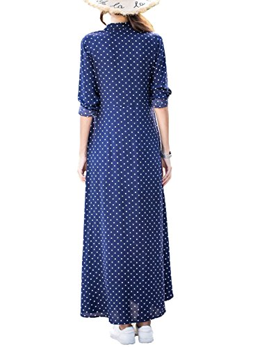 Pois bleu Longue Shirt Manches de Maxi A Belted Soire Robe Polka Raver Robe Dokotoo Femme SqfHXwn6