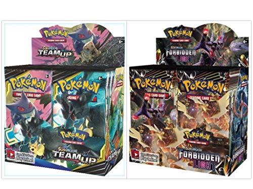 - Pokémon TCG Sun & Moon Team Up Booster Box + Sun & Moon Forbidden Light Booster Box Pokémon Trading Cards Game Bundle, 1 of Each.
