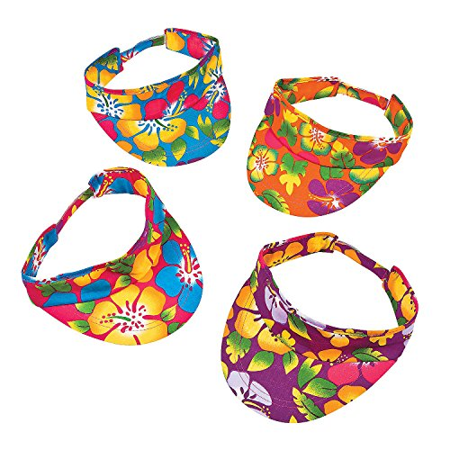 - Fun Express - Hibiscus Print Luau Visors for Party - Apparel Accessories - Hats - Visors - Party - 12 Pieces