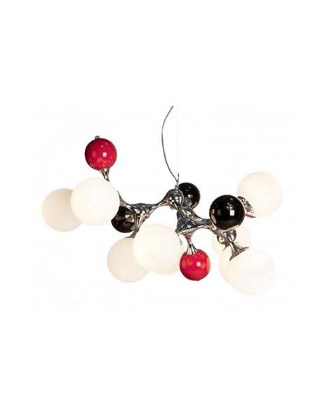 Lámpara techo bolas rojas, blancas y negras: Amazon.es: Hogar