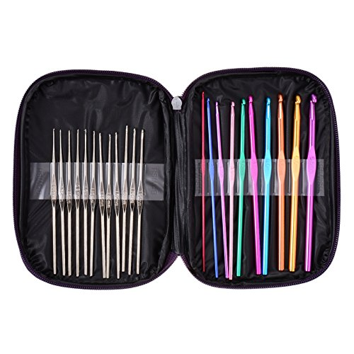 BWISH Artwork Handmade Tools Handle Crochet Hooks Yarn Knitting Needles Sewing Tools Set Kit Portable With a Case (22PCS)