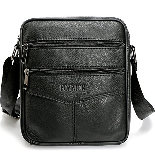 - Fonmor Men Vintage Cowhide Leather Shoulder Messenger Bag Crossbody Small Satchel