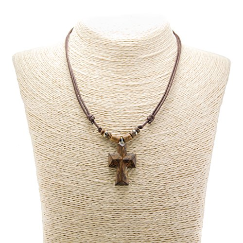 Brown Wood Cross Pendant on Adjustable Brown Rope Cord Necklace with Wood Beads Accent