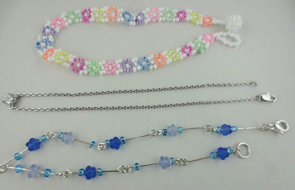 Lot of 6 Silvertone Chain Ankle Bracelets Anklets Rhinestone Bead Chord A11