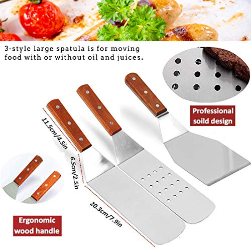 ABOWEI BBQ Grill Tools Set, Heavy Duty 8 Piece Non-Stick BBQ Griddle Accessories Kit Stainless Steel Griddle Grill Cooking Tool Kit with Wooden Handle, Great for Flat Top Cooking, Camping