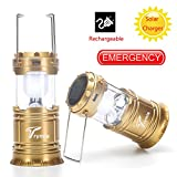 Rechargeable LED Outdoor Camping Lantern, Trymie 2 in 1 Portable Solar Rechargeable LED Camping Lamp Collapsible Handheld Flashlights with USB Power Bank for Fishing, Emergency, Hiking (Light Gold)