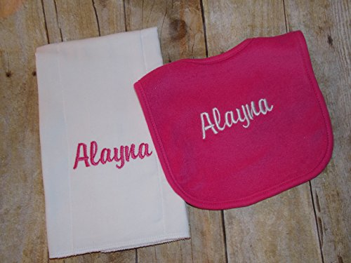 Personalized baby bib and burp cloth ()