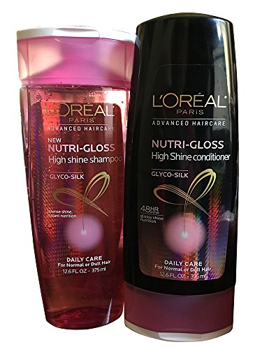 L'Oreal Paris Advanced Haircare – Nutri-Gloss – High Shine Shampoo & Conditioner Set – Net Wt. 12.6 Oz Each (One Set)