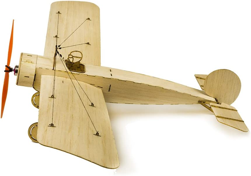 Dancing Wings Hobby Balsa Wood Airplane Kit Micro 3CH 378mm Fokker E by DW Hobby; Remote Control Balsawood Laser Cut Plane for Adults;RC Un-Assembled Flying Model for Fun K0802
